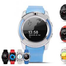 V8 Sport Smartwatch Blau  Uhren Handy Smart Watch für iOS und Android
