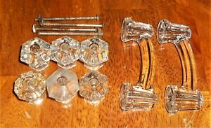"VINTAGE CLEAR GLASS DOOR PULLS KNOBS 2 4"" DRAWER PULLS 6 1"" KNOBS"