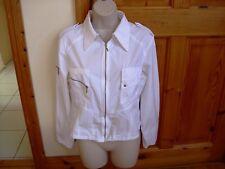 Ladies white designer BLANC NATURE summer lightweight cotton jacket size 14