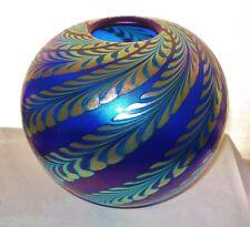 Iridescent CORREIA Signed BIG 1980s Glass VASE Electrifying MASTERPIECE & LABEL