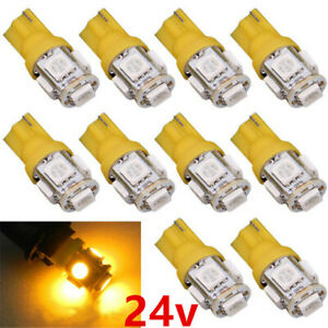 10x DC 24V T10 LED 5SMD W5W Wedge Car SUV Interior Light Bulb 168 192 2825 194