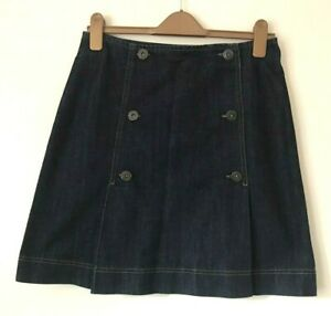 OASIS JEANS Dark Blue Denim Skirt A-line Front Pleats Button Military UK 10