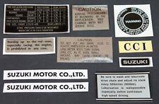 SUZUKI GT500 WARNING AND SIDE PANEL DECALS SET OF 10