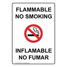 Flammable No Smoking English + Spanish Sign, 10x7 in. Plastic, Made in USA