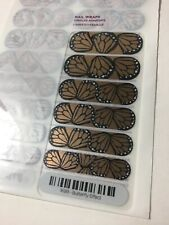 New Jamberry Nail Wrap Full Sheet Butterfly Effect Gold Black