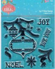 Papermania Rubber Stamp Set Folk Noël Flocons de neige boules Joy, pour vous NOEL