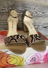Anne Klein Tan Brown Snake Open Toe Ankle Strap Heel Sandals Size Sz 10M