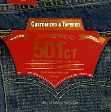 Levis 501 CT Jeans Mens Button Fly Size 36 x 32 BLUE DISTRESSED Tapered Leg NWT