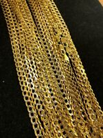 Real 10K Yellow Gold Flat Curb Cuban Chain 3.5mm Necklace 18-22 Inch Diamond Cut