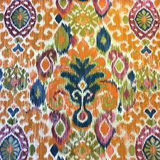 HM115 Jewel Tone Woven Ikat Geometric Geo Colorful Upholstery Home Decor Fabric
