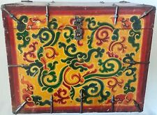 "BIG Hand-Painted WOOD Treasure BOX with SPECIAL hinges (16"" W x 13"" H)"