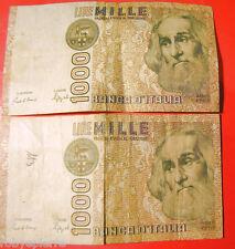 2 banconote 1000 lire Marco Polo serie QF 323163 L HF 155117 Q Ciampi Speziali