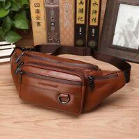 Men's Genuine Leather Fanny Chest Bag Casual Crossbody Hip Bum Waist Belt Pack