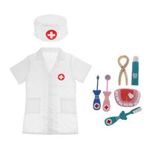 Kids Children Pretend Play Doctor Dentist Costume Wood Kits Fun Cosplay Toys