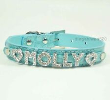 Leather Dog Collar Rhinestone Name Pet Cat Dog Puppy DIY Personalized Dog Collar