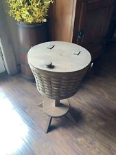 longaberger sewing basket on stand with working leather hinges