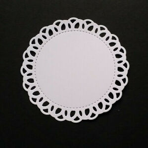 Die Cut Decorative Edge Circles In white Card--3 Size Options