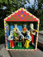 Hand Carved Made Wooden Day Of The Dead Skull Candy Bar Scene Retablo Ornament