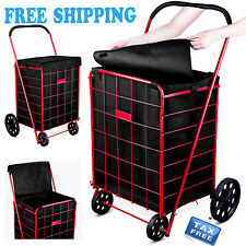 Shopping Cart Liner Folding Rolling Basket Hood Bag Cover Utility Trolley Wheels