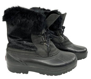 Sorel Women's Hand Crafted Black Rubber & Faux Fur Duck Winter Boots Size 7