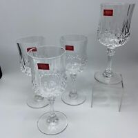 4 Crystal Stemmed Glasses Cristal D'Arques Paris Longchamp Unused in Box 24% Pb