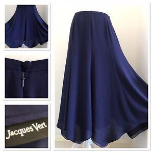 Jacques Vert Floaty Midi Skirt Dark Purple Wedding Summer Stretch Elasticated