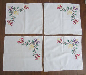 Four Vintage Hand-Embroidered Linen Napkins From Lithuania