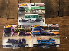 Hot Wheels Team Transport Mazda 787b, RWB Porsche, Plymouth Superbird Set.
