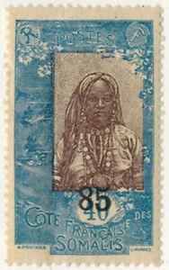 1923.27-TIMBRE NEUF-COLONIES-COTE DES SOMALIS-PLIS-SURCHAGE-Yt.114