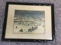 Vintage Davis Gray Framed Print Of Center Square Hanover, Pa Late 1800's
