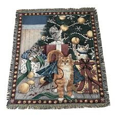 Christmas Curiosity Cats Throw Blanket Whimsical Kitty Woven Tapestry Afghan
