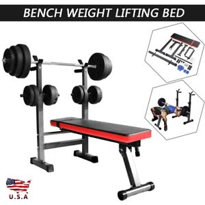 Bench Press Barbell Rack Adjustable Weight Folding Squat Fitness Gym Training T