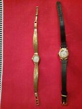 lot de 2 anciennes montres femme plaquées or de marque LACORDA- à restaurer