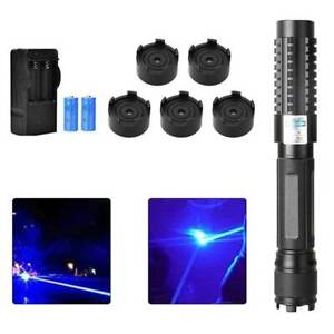 High Power Laser Pointer USB Rechargeable Blue Burning Military Torch Flashlight