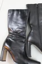 "Cute Women's White Mountain Black Leather Zipper Mid-Calf 3"" Heels Boots 7M"