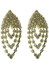 "2"" gold  crystal chandelier clip on earrings non pierced prom bridal pageant"