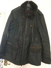 Next Dark Barbour Style Khaki Green Wax Style Jacket Coat Fur Collar  Size 14-16
