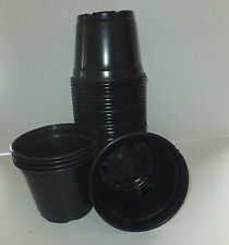 Set of 50 - 6 inch round black plastic nursery pots plants azalea pot Landmark