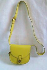 New FOSSIL AUSTIN FLAP Citrus Lemon Yellow Leather Purse Cross Body Bag Small