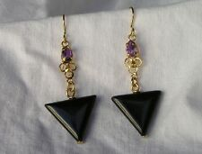 Sterling Vermeil Amethyst Onyx Filigree Dangle Earrings