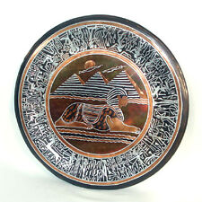 Large Mixed Metals Inlaid Egyptian Sphinx Charger Bronze Silver Copper