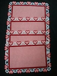 4 Finished Hand Crafted Plastic Canvas Placemats / Hearts / NEW
