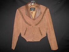 Leather Gallery Brown Sueded Braid Leather Western cropped Jacket Women's L WOR