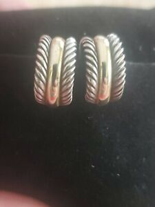 David Yurman Thoroughbred Earrings, Sterling Silver & 14Kt Yellow Gold Huggie