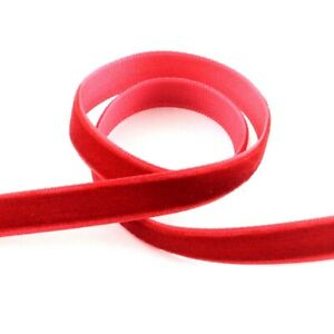 Velvet Ribbon Red 4M Continuous Length 10mm Wide