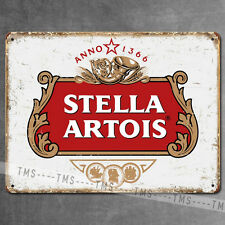 STELLA ARTOIS BEER VINTAGE METAL SIGN TIN RETRO PLAQUE GARAGE BAR PUB MAN CAVE