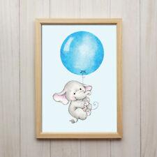 Baby Elefant Junge Mit Ballon Blau Kunstdruck DIN A4 Bild Kinderzimmer Tier Deko