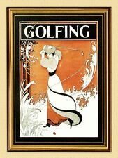 Poster Golf by Aubrey Beardsley Drive Game Deckle Facsimile 193 in Gold Frame