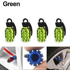 4Pcs Tire Wheel Rim Stem Air Valve Caps Cover Car Truck Bike Grenade SUV Green