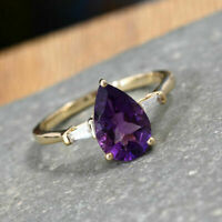 2Ct Pear Cut Purple Amethyst Solitaire Engagement Ring 14K Yellow Gold Finish